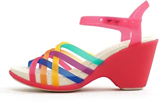 Crocs Womens Huarache Wedge Sandal Shoes, Multi/Candy Pink, US 6