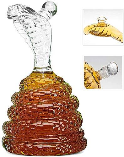 King Cobra Snake Whiskey Decanter mundgeblasenem Bleifreies Glas, Snake Decanter for Spirituosen, Scotch, Bourbon, Wodka, 600ml