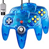 2 Pack for N64 Controller, iNNEXT Game pad Joystick for 64 - Plug & Play (Non USB Version) - Transparent Blue