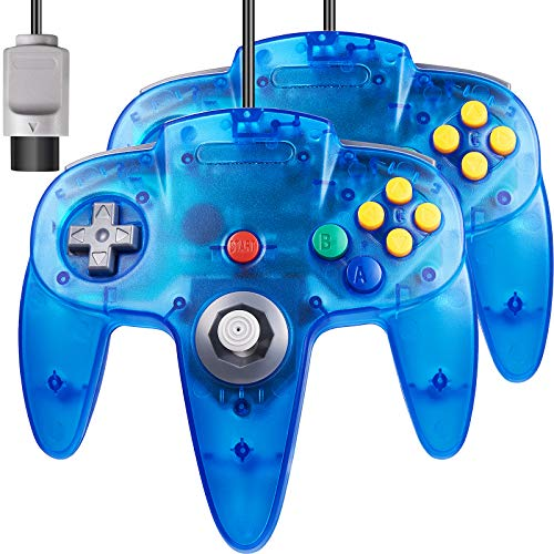 iNNEXT Gamepad Joystick fur N64 Controller Plug Play nicht USB Version Transparent Blau 2 Stuck