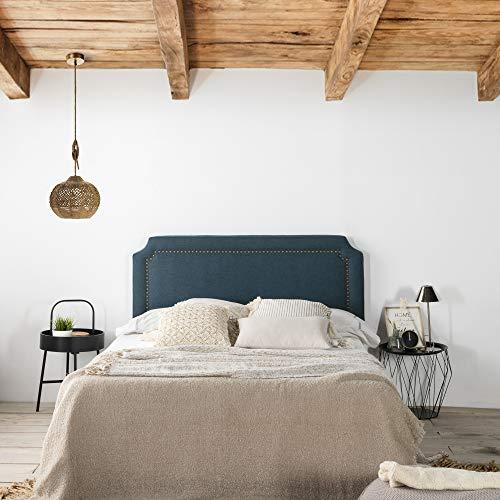 marckonfort Cabecero tapizado Leonor 160 x 60 cm Azul, Tachuelas en Color Marrón, Grosor Total 8 cm