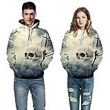 Suéter con Capucha 3D, Europa Y Los Estados Unidos Creative 3D Cráneo Humano Imprimir Suéter Flojo Amantes Casuales Street Fashion Sudadera con Capucha,L