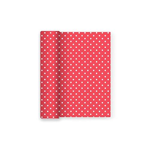 Maxi Products Mantel de Papel para Fiesta con Decorado de Lunares. Ideal para Celebraciones Infantiles, cumpleaños, Aniversarios o Fiestas temáticas - Color Rojo - 1,2 x 5 m