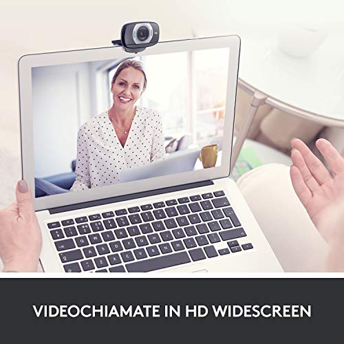 Logitech C615 Webcam Portatile, Full HD 1080p/30fps, Videochiamata HD Widescreen, Pieghevole, Correzione Luce HD e Rumore, Autofocus, per Skype, FaceTime, Hangouts, PC/Mac/Laptop/Macbook/Tablet