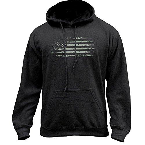 USAMM Distressed American Flag Pullover Hoodie (Medium, Black/Glow)