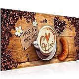 Bilder Küche Kaffee Wandbild Vlies - Leinwand Bild XXL Format Wandbilder Wohnzimmer Wohnung Deko Kunstdrucke Braun 1 Teilig - MADE IN GERMANY - Fertig zum Aufhängen 501212a