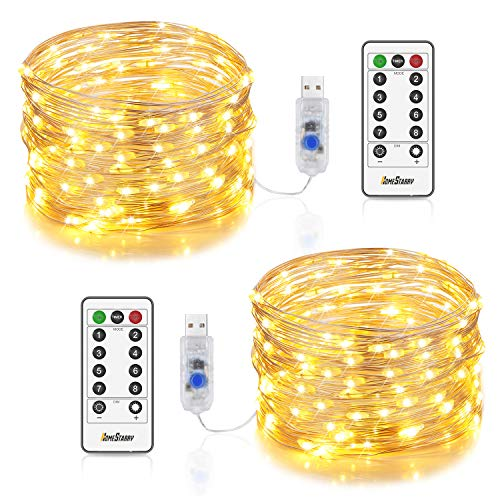 2 Sets Fairy Lights USB Plug in 12m/40ft 120 LEDs String Lights with Remote Timer 8 Modes Twinkle Firefly Lights for Home Indoor Bedroom Party Wedding Christmas Tapestry Decorations, Warm White