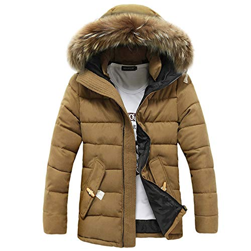 Riou Herren Steppjacke Winterjacke Männer Winter Wärme Beiläufige mit Kapuze Zip Dicke Verdicken Daunenjacke Baumwolle Mantel (L, Khkaki)