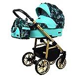 Poussette 3 en 1 ensemble complet avec siège d?auto Isofix bébé bébé porte-bébé Buggy Colorlux Gold par ChillyKids Green Garden 3en1 avec siège bébé