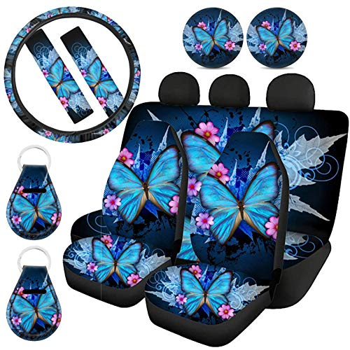 ZFRXIGN 11 Pcs Butterfly Car Seat Covers Full Set with Steering Wheel Cover, Coaster, Keychians, Seat Belt Pad Universal Fit Truck Van SUV Front Rear Bench Seat Covers for Women Gifts Blue