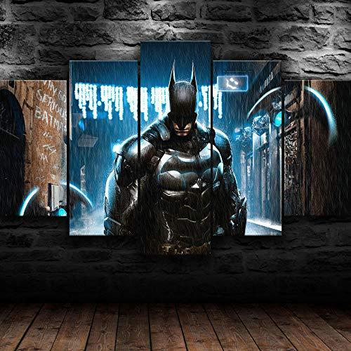 HJYT Cadre Decoration Murale Batman Comics Super-Héros Tableau Multi Panneau 5 Parties, Decoration Murale,Tableau Imprimé, Tableau Imprimé sur Toile, Tableau Deco Artistique/150x80CM