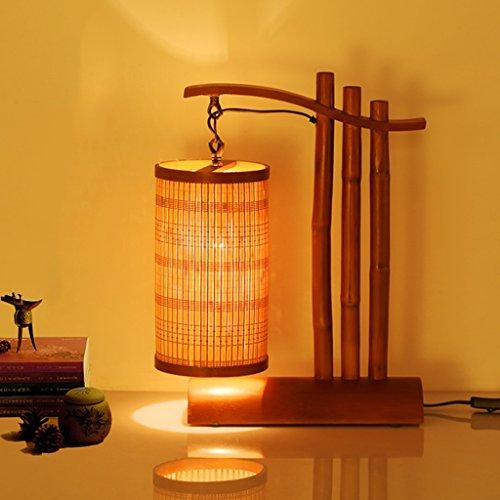 Vast Retro handgemaakte bamboe art bureaulamp, LED E27 tafellamp met bamboe lampenkap, spaarlamp, geschikt voor slaapkamer, 35 cm * 45 cm 215