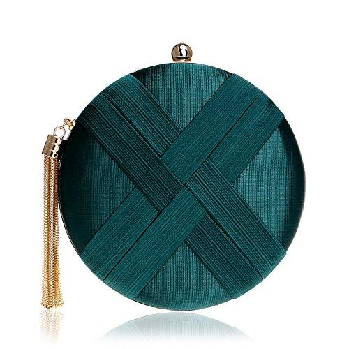 Mubolin Bolso redondo tejido de seda para cena, con borla y colgante de boda, color verde