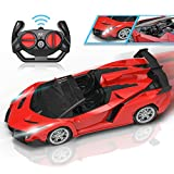 Qutasivary Remote Control Car, Hobby RC Cars Xmas Gifts for Kids, 1/24 Red Model Sport Racing Toy Car with Lights for Boys Girls