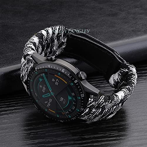 Nylon Watchabnd Pulsera Deporte Banda Trenzada Correa de Cuerda Cierre de Cuero Adecuado para Samsung Galaxy Watch 3 41mm 45mm Huewei Watch GT 2E Cierre de reemplazo