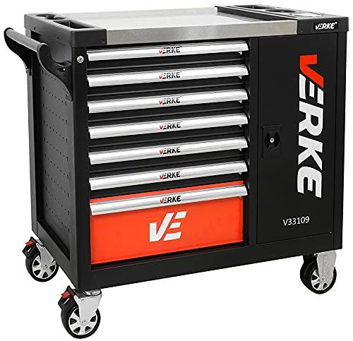 Werkzeugwagen Rollwagen gefüllt mit Zubehör von STAHLMAYER – unser Werkstattwagen mit Stabilen Schubladen durch Sicherheitsverriegelung ermöglicht den sicheren Transport der Werkzeuge (Schwarz)