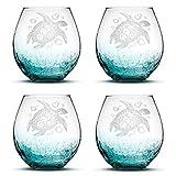 Set of 4, Sea Turtle Stemless Wine Glasses