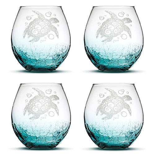 Integrity Bottles Set of 4, Sea Turtle Stemless Wine Glasses, Crackle Teal, Made in USA, Tribal Design, Hand Etched Gifts, Sand Carved