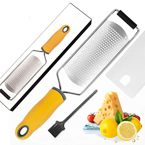 Rayador de cocina,rallador queso,Cuchilla de acero inoxidable, mango ergonómico de silicona con funda protectora, triturador de cocina
