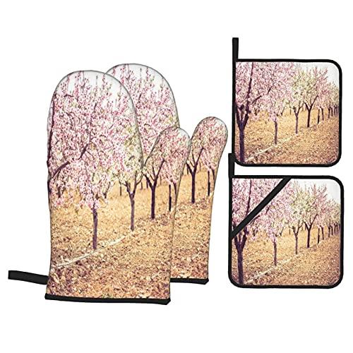 Juego de 4 Manoplas para Horno y Soportes para ollas,huerto de Flores de Primavera con Fondo borroso,Color Pastel idílico,Guantes de poliéster para Barbacoa con Forro Acolchado,