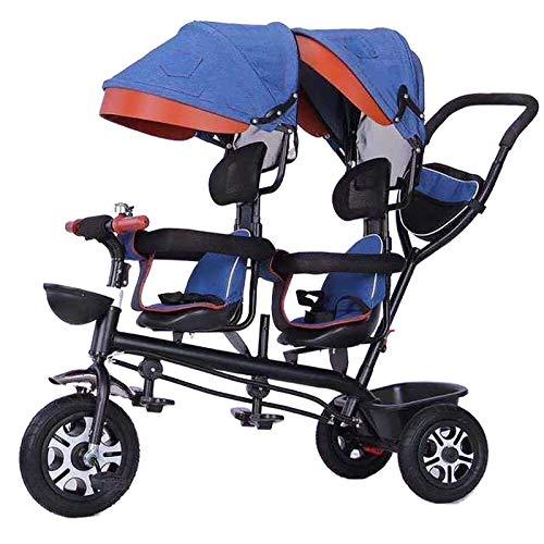 QINJIE Twins Dreirad Kinder Tandem Kinderwagen,Blau