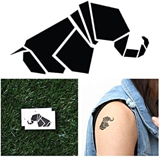 Tattify Origami Elephant Temporary Tattoo - Geo-Elephant (Set of 2) - Other Styles Available - Fashionable Temporary Tattoos - Long Lasting and Waterproof