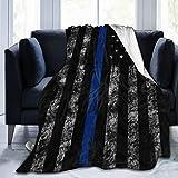YISHOW American Thin Blue Line Flag Fleece Throw Blanket Plush Soft Throw for Bed Sofa, 80'X60'