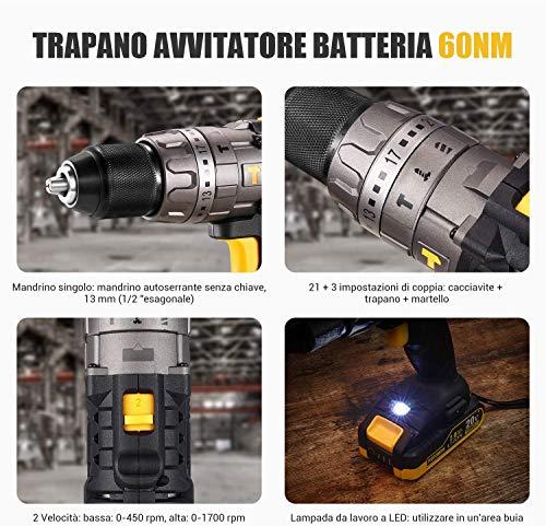 Trapano Avvitatore Batteria, TECCPO Avvitatore Batteria 180Nm Trapani Combinati 18V (2x2.0Ah Batteries+30min Caricatore Rapido+13mm Mandrino Metallico Autoserrante+35 Accessori)-TDCK01P