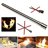 EasyFirePits Stainless Steel Lifetime Warranted Gas Fireplace Log Lighter Replacement Burners (24.0, Straight END-FED Gas Log Lighter)