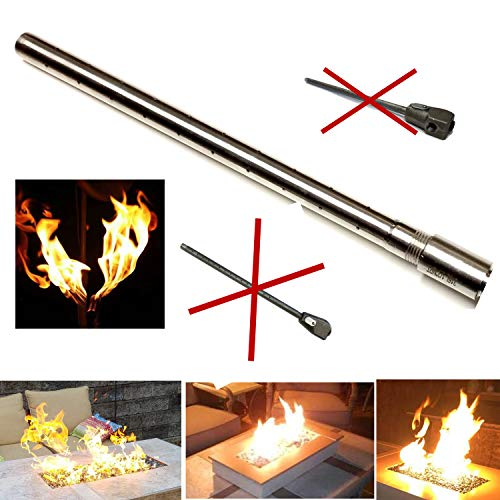 EasyFirePits Stainless Steel Lifetime Warranted Gas Fireplace Log Lighter Replacement Burners (48.0, Straight END-FED Gas Log Lighter)