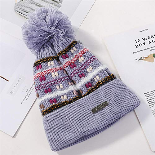 YFZCLYZAXET Gorro Cálido Boina Winter Lady Thick Warm Plush Crochet Knitted Skullies Beanie Cap Mujeres Pompom Sombrero Rizado para Viajes-002_Adult_Size_ (54-60Cm)