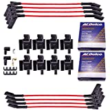 MAS 8 Pcs Square Ignition Coil and OEM Platinum spark plugs with wires compatible with CADILLAC/GMC/CHEVY ESCALADE SILVERADO 1500-3500 SIERRA 1500-3500 HUMMER H2 2003-2007 Permatex Dielectric Grease