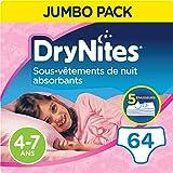 DryNites, Sous-vêtements de nuit absorbants jetables, Pour filles, Taille: 4-7 ans (17-30 kg), 64 culottes...