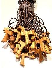 IL SOLE Tau de madera de olivo, cruz de San Francisco de Asís 2,5 cm 20 unidades con los 3 nudos franceses