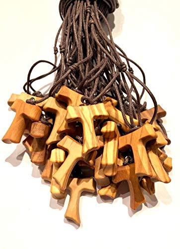Tau de madera de olivo, cruz de San Francisco de Asís 2,5 cm 20 unidades con los 3 nudos franceses