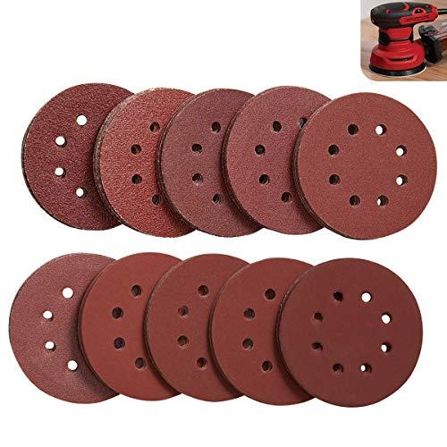 LESNIC Discos de Lija 125mm 100 hojas, Velcro Papel Abrasivo Autoadhesivos 8 Agujeros 100pzs: Grano Cada 10 x 40/60/80/100/120/180/240/320/400/800 para Lijadora Excéntrics