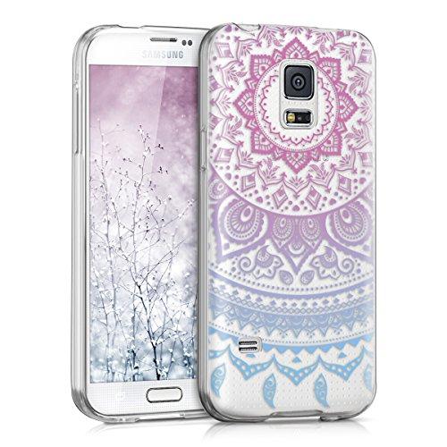 kwmobile Hülle kompatibel mit Samsung Galaxy S5 Mini G800 - Handyhülle - Handy Case Indische Sonne Blau Pink Transparent