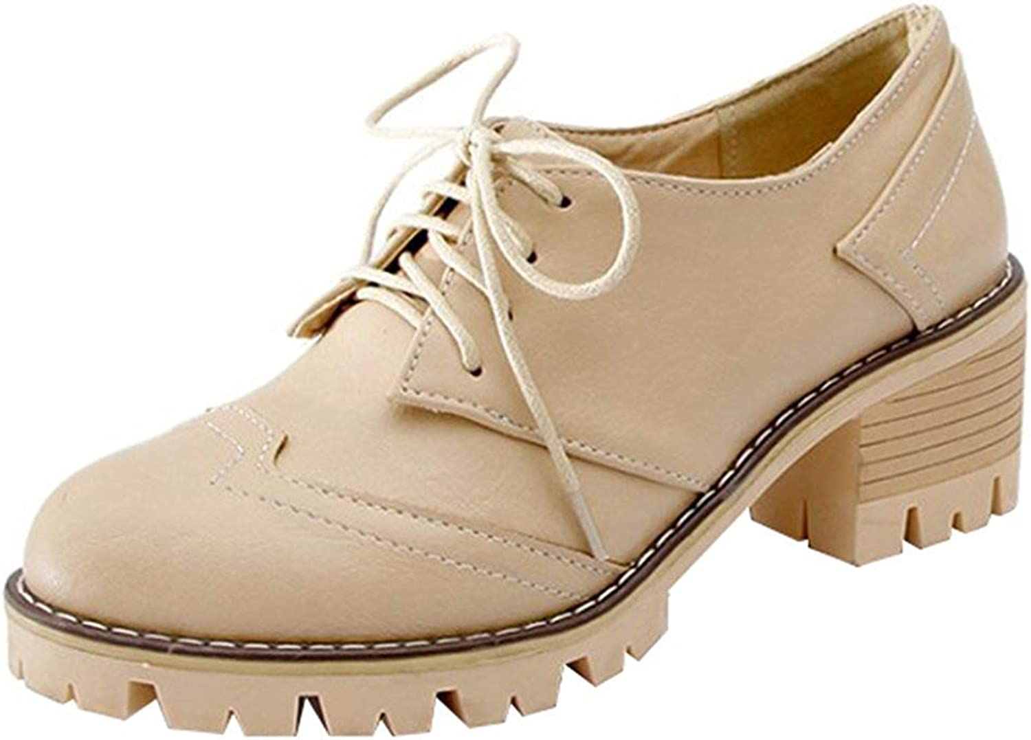 Ghapwe Women's Trendy Round Toe Low Top Stacked Block Medium Heels Lace Up Oxfords shoes Apricot 5.5 M US