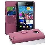 Cadorabo Hülle für Samsung Galaxy S2 / S2 Plus in ANTIK ROSA – Handyhülle aus glattem Kunstleder mit Standfunktion & Kartenfach – Hülle Cover Schutzhülle Etui Tasche Book Klapp Style