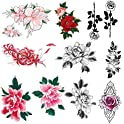 10-Sheets Imarisha Colorful Flower Temporary Floral Tattoos