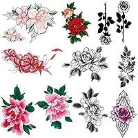 10-Sheets Imarisha Colorful Flower Temporary Floral Tattoos