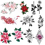 Imarisha Temporary Tattoos for Women - Colorful Flower Bohemian Vintage Inspired Realistic Rose Temporary Floral Tattoos for VSCO Girl Stuff - 10 Sheets | Skin Safe | Waterproof | Removable