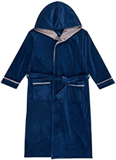 XIXI Pajamas Men And Women Autumn And Winter New Coral Fleece Cute Open Hooded Thick Warm Home Couple Nightgown Male Navy Blue 3XL (Color : Navy, Size : L)