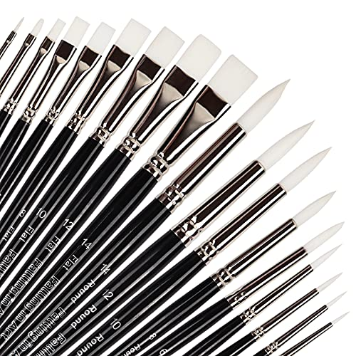 Flat and Round Tips Professional Nylon Paint Brushes Set   18 PCS Watercolor Brush Set   White Short Handled Paint Brushes Set for Acrylic, Oil, or Watercolor