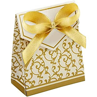 MultiWare 100Pcs Wedding Favour Sweet Cake Gift Candy Boxes Anniversary Party Gold