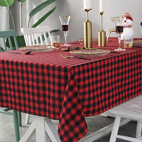 Tafelkleden kleur rood en zwart tegel,60 x 60 cm