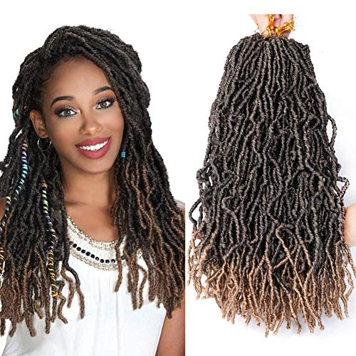 7 Packs Nu Locs Crochet Hair 18 Inch Long Bohemian Crochet Braid Synthetic Premium Fiber Crochet braids Soft goddess Faux locs 22 Stands 80g/pack Kanekalon Hair Extension (NU LOCK, T-27) Colorado