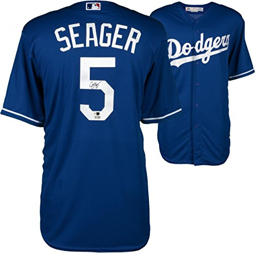 Corey Seager Los Angeles Dodgers Autographed Majestic Blue Replica Jersey - Autographed MLB Jerseys