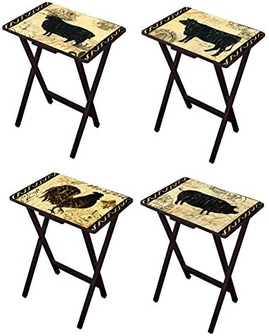 Cape Max 77% OFF Craftsmen Elegant Farmhouse TV Trays with of 4 Set All items free shipping Stand