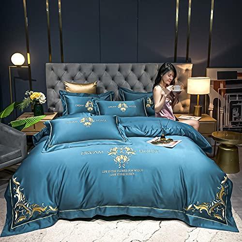 juego de funda nórdica cama 90-Lavar el bordado de algodón de seda, conjunto de cuatro piezas, bordada duple abajo banda cama doble cama lodos reversible cómodo kit de cama de ropa de cama-B_1,8 m de